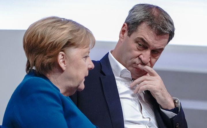 Kanzlerin Merkel, CSU-Chef Söder (im November 2019)