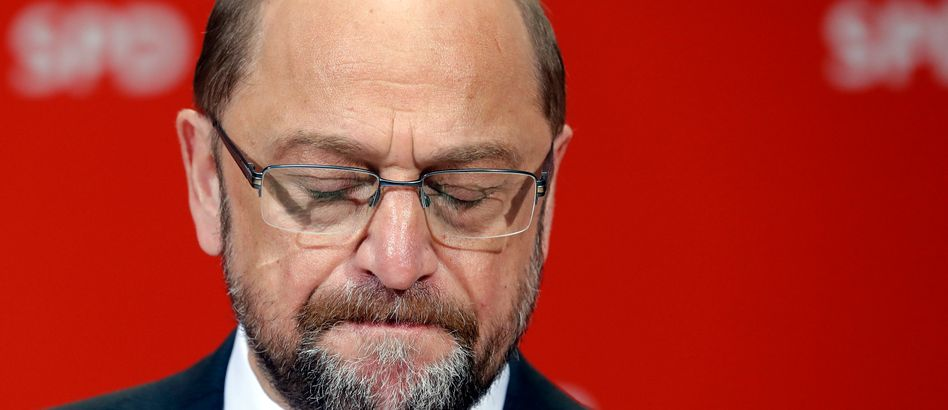 SPD chancellor candidate Martin Schulz in Berlin on Sunday evening