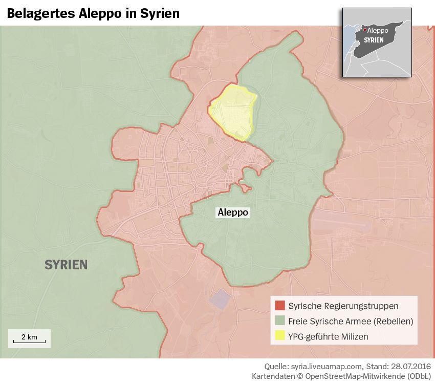 Grafik Karte Syrien Aleppo Belagerung - Stand 28.07.2016