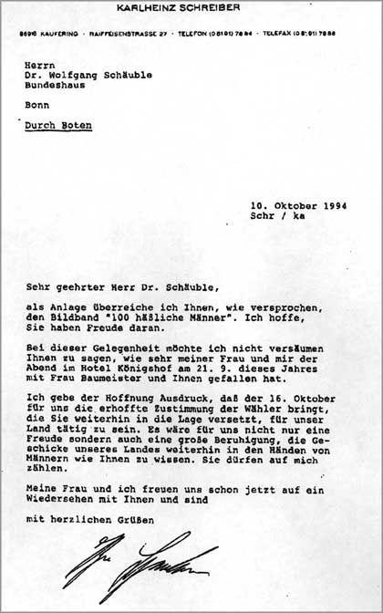 Dieses Schreiben will Schreiber gemeinsam mit der Spende an Brigitte Baumeister übergeben haben