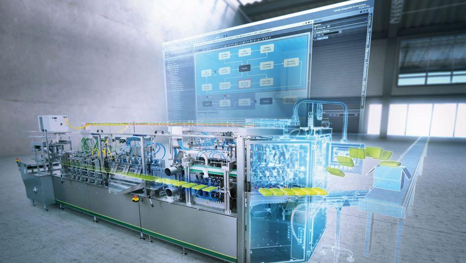 Hoch automatisierte Verpackungsmaschine (Computersimulation)