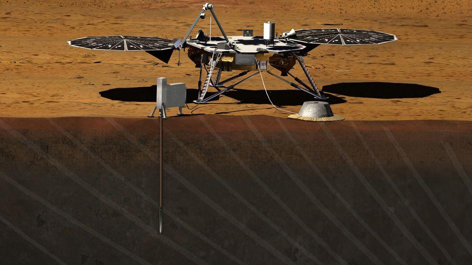 """""""InSight"""" (Illustration): Die Sonde sollte bis zu neun Meter tief in den Marsboden bohren"""