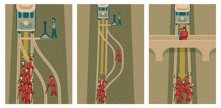 """Die drei Szenarien des """"Trolley-Problems"""": Switch, Loop und Footbridge"""