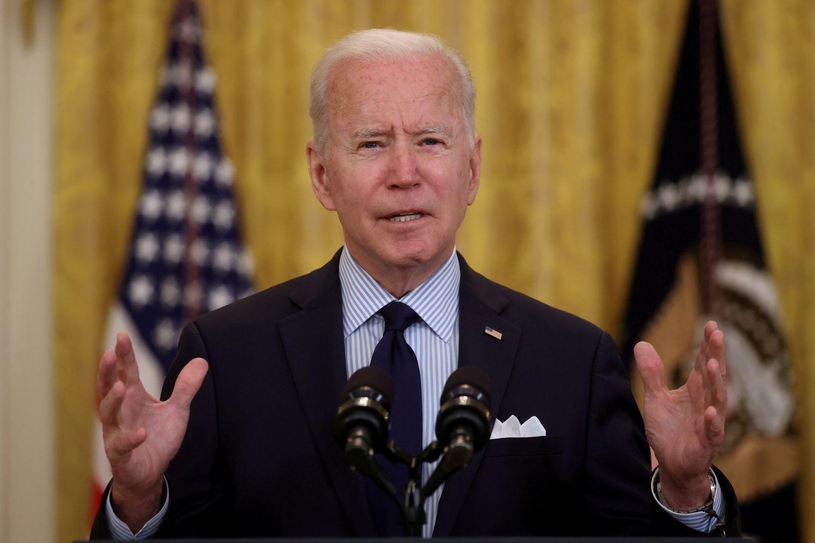 FILE PHOTO: U.S. President Joe Biden delivers remarks on the April jobs report