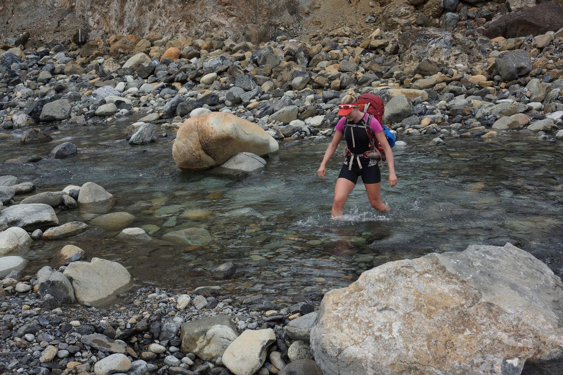 Crossing a river in the Redhills on the Te Araroa Trail Credit Antony Behrens