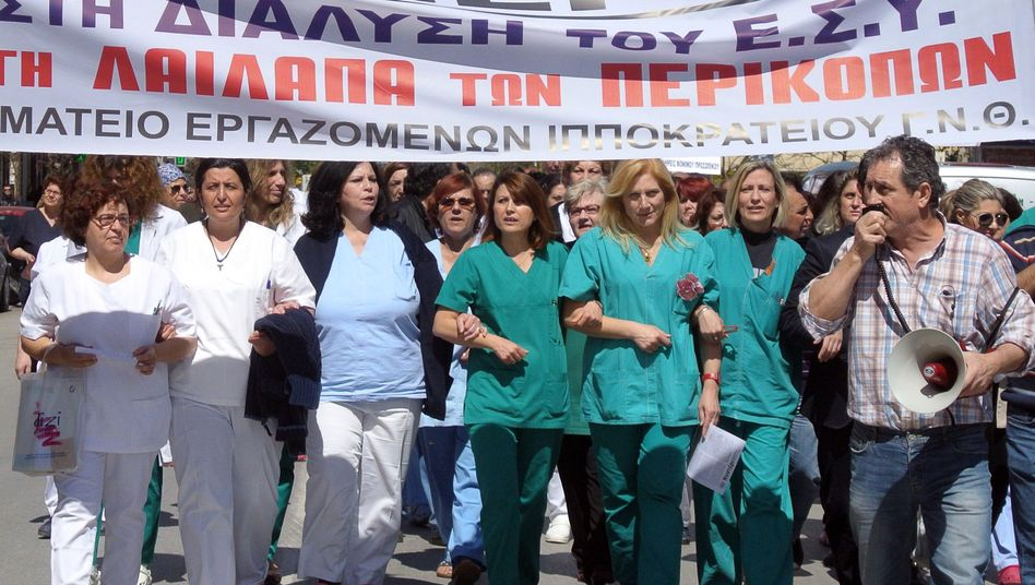 State hospital nurses protesting in Thessaloniki. Many have left the country looking for work elsewhere.