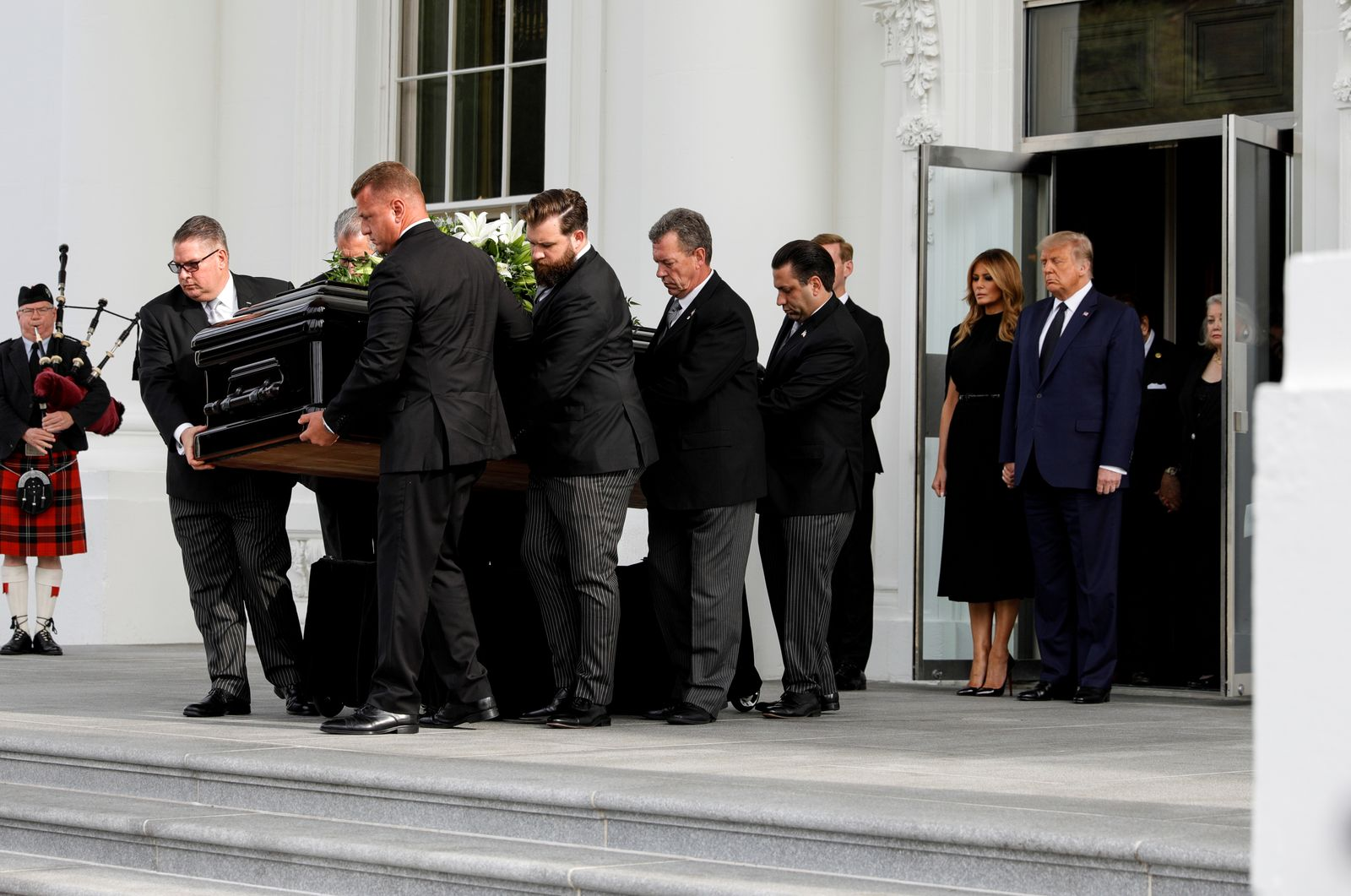 U.S. President Trump attends private memorial service for brother Robert Trump at the White House in Washington