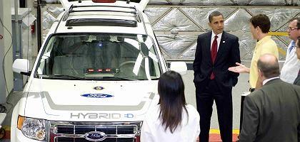 US-Präsident Obama neben einem Hybridauto: 2,4 Milliarden Dollar für die Förderung dieser Technik