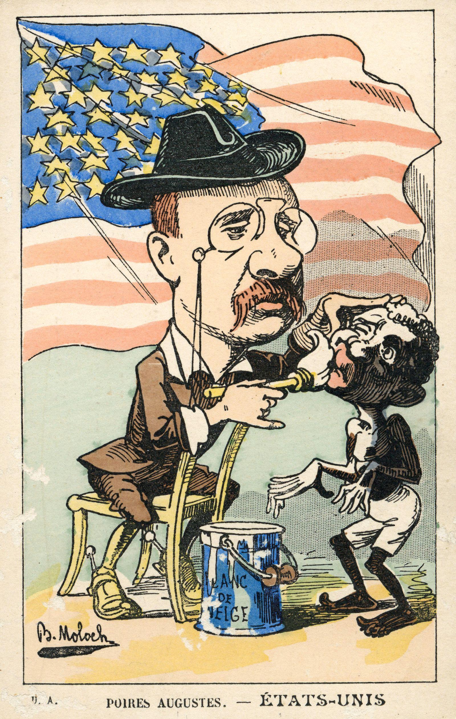 Theodore ROOSEVELT Theodore ROOSEVELT (1858-1919) peignant un noir au blanc de neige. Caricature vers 1905 par MOLOCH (1