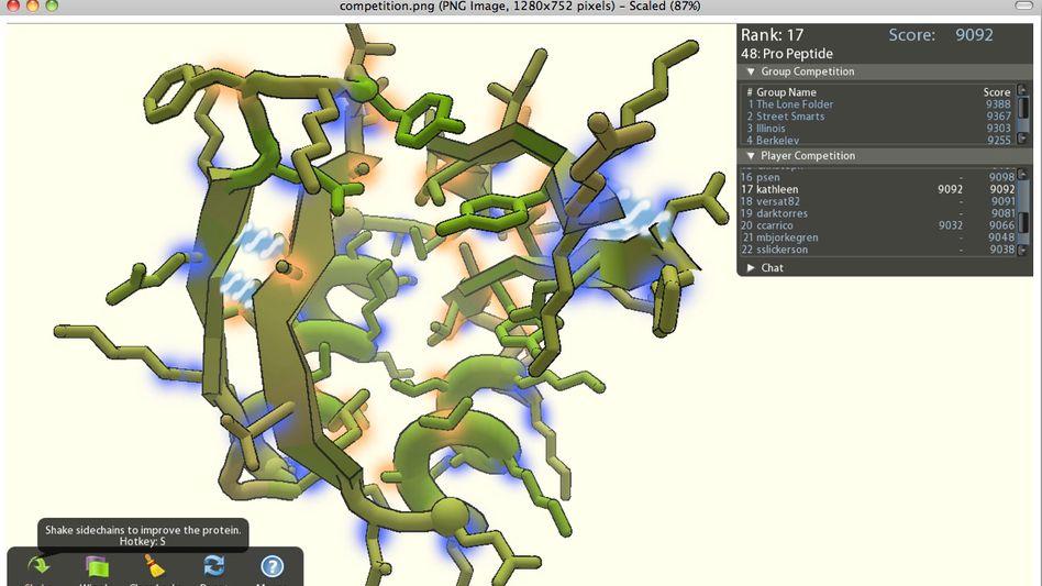 Software Foldit: Falten von Aminosäureketten als Spiel