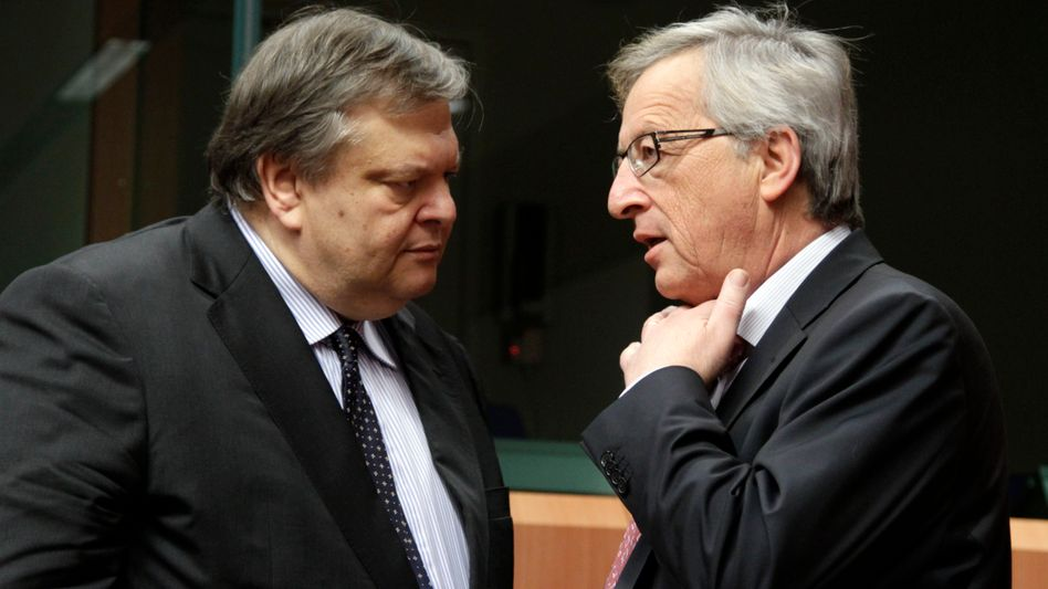 """Griechenlands Finanzminister Venizelos, Euro-Gruppen-Chef Juncker: """"Muskeln verleihen"""""""