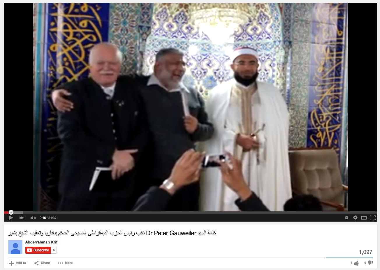 NUR ALS ZITAT Screenshot youtube / Peter Gauweiler / Moschee