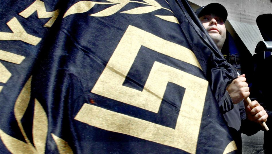 A member of the right-wing extremist Golden Dawn party in Athens.