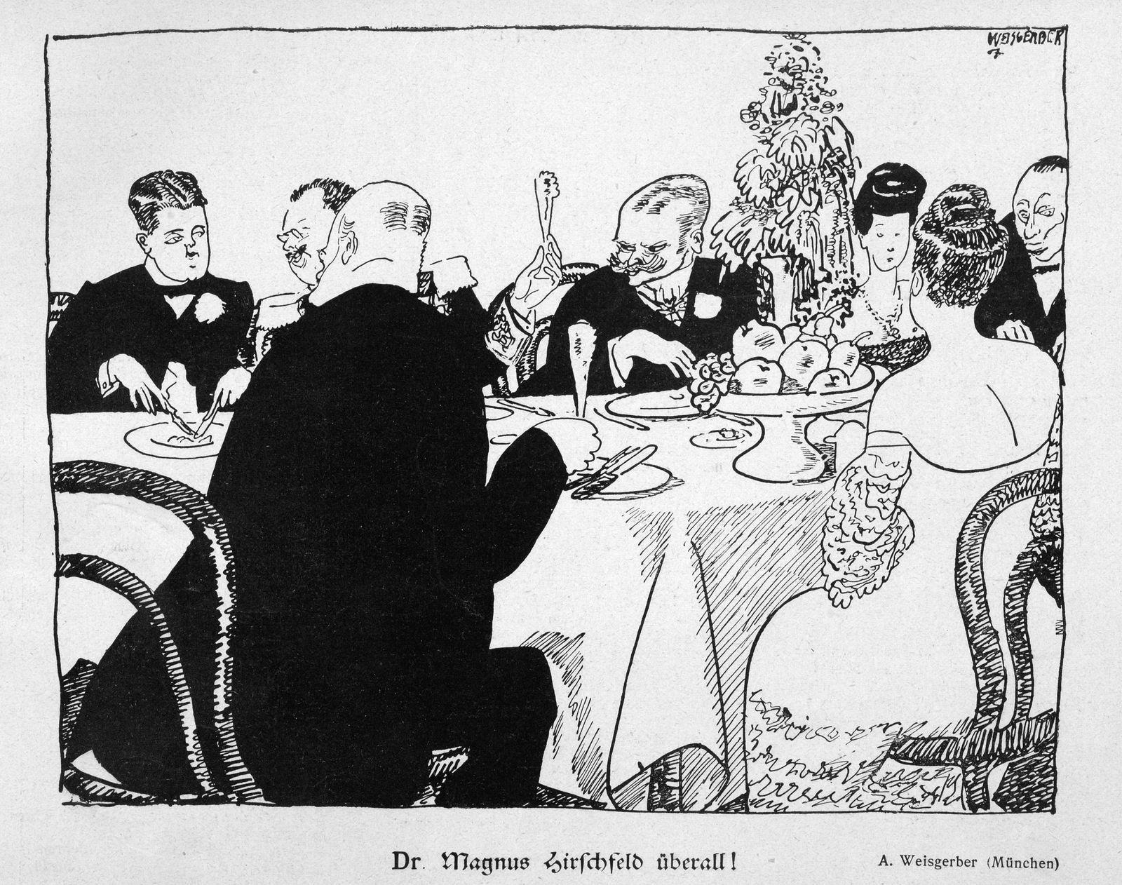 "Karikatur: ""Dr. Magnus Hirschfeld überall!"""