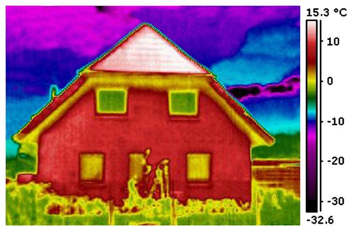 Thermogramm eines Wohnhauses