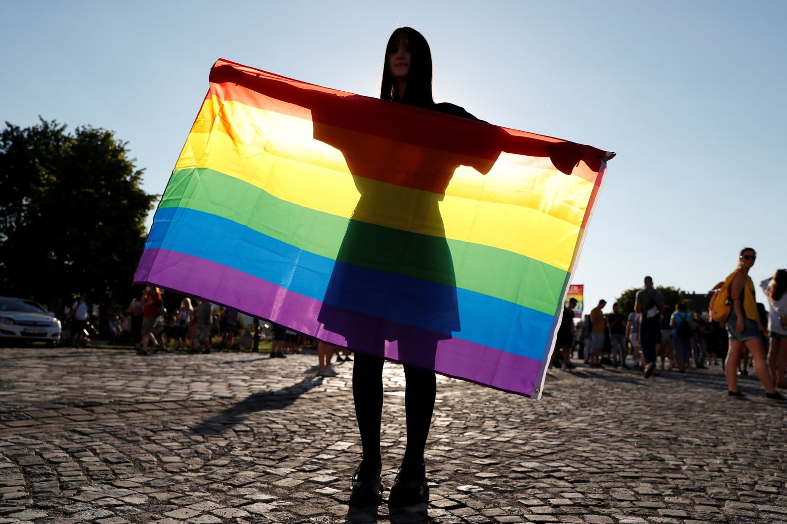 Demonstrators protest against law that bans LGBTQ content in schools and media, in Budapest