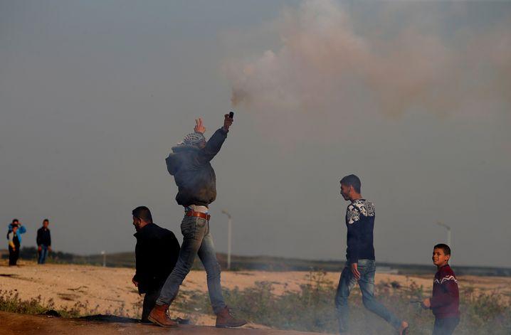 Protest an der Gaza-Grenze am Freitag