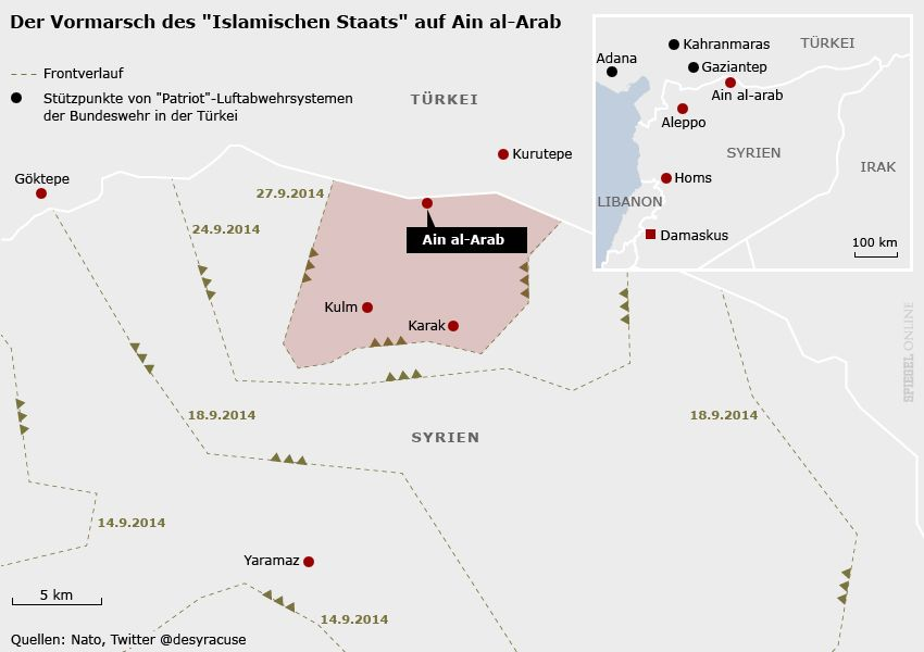 Karte - Vormarsch des IS auf Ain al-Arab