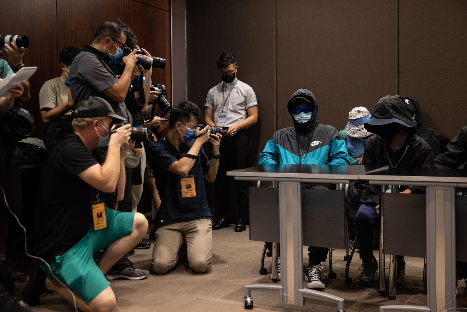 Relatives of 12 Hongkongers in China custody attend a press conference., Hong Kong - 12 Sep 2020