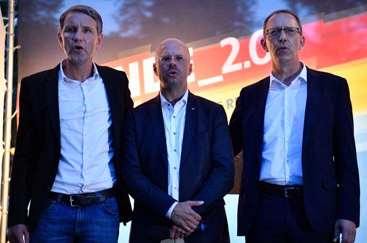 """AfD-Politiker und """"Flügel""""-Vertreter Björn Höcke, Andreas Kalbitz und Jörg Urban: Offiziell aufgelöst"""