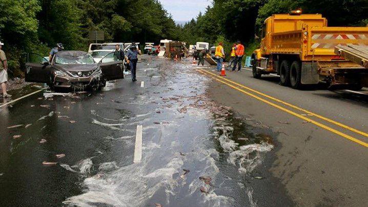 Aalplaning-Gefahr in Oregon: Lkw-Unfall mit Schleimaalen