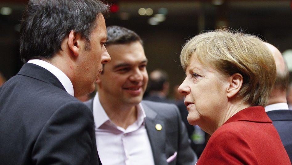 Regierungschefs Merkel, Tsipras, Renzi (von rechts): Eigentlich soll alles bleiben, wie es ist