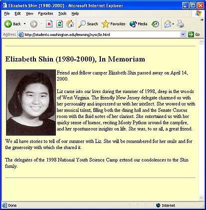 Website zur Erinnerung an Elizabeth Shin