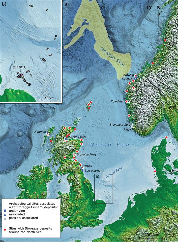 Diese Karte zeigt das Storegga-Ereignis und Orte, an denen Spuren davon gefunden wurden