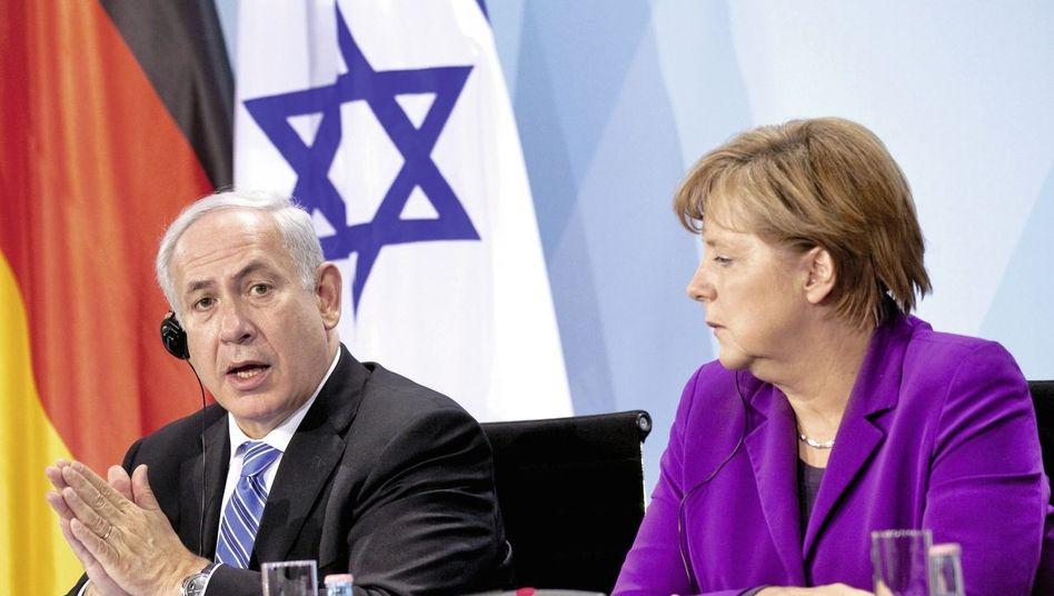 Gesprächspartner Netanjahu, Merkel(*) Deutsche Wünsche beharrlich ignoriert