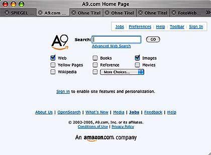 Suchdienst A9: Außen Amazon, innen Microsoft
