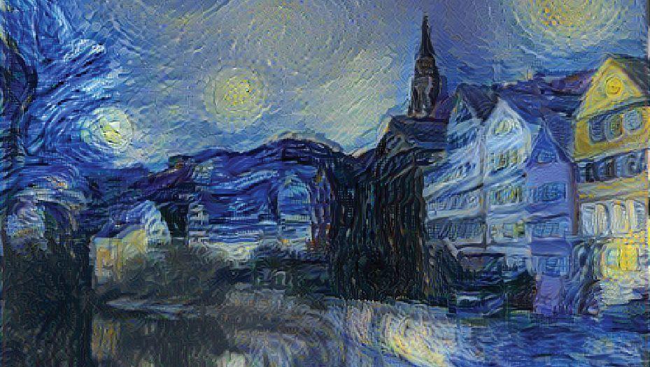 Tübinger Stadtansicht à la van Gogh: Zerlegt und neu zusammengesetzt
