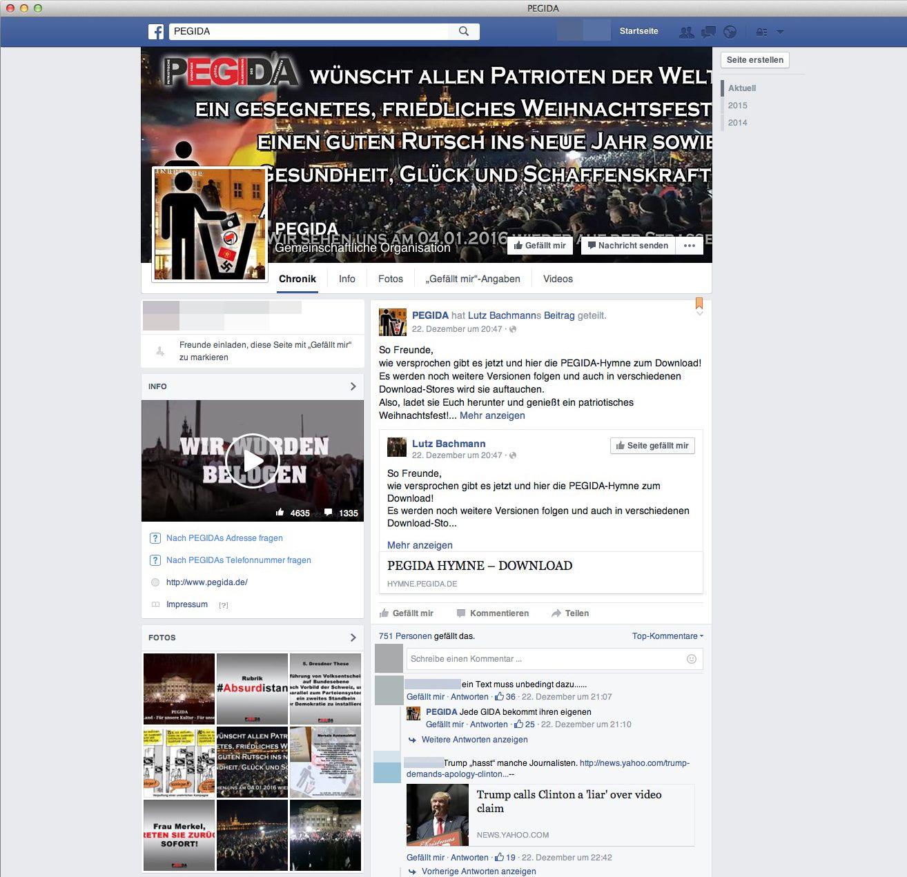 NUR ALS ZITAT Facebook/ Screenshot/ Pegida