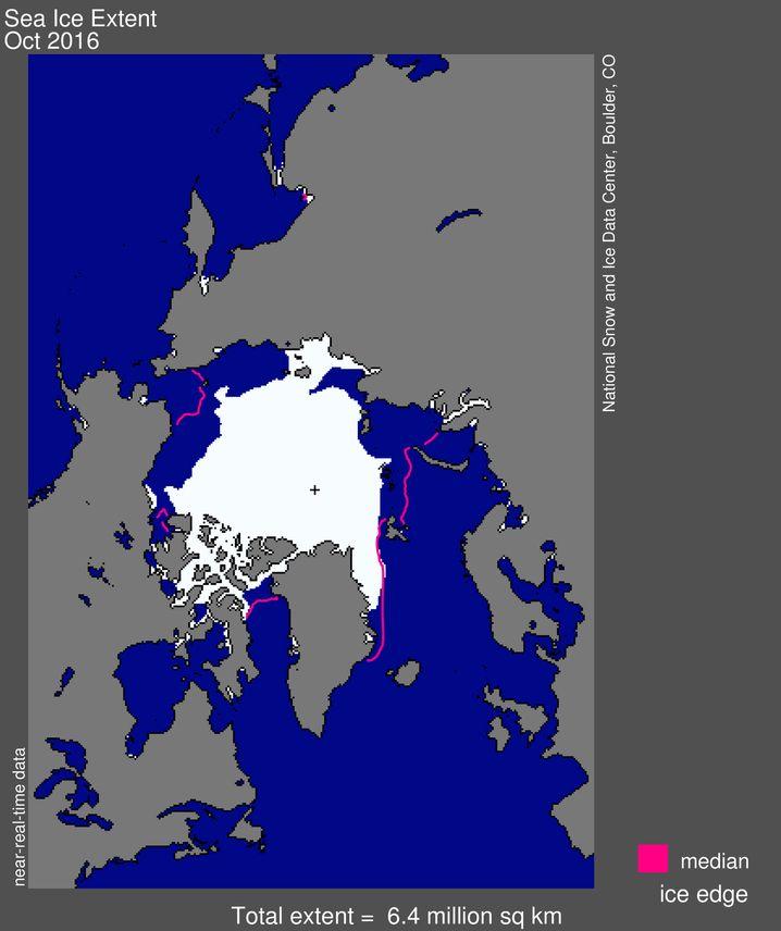 Ausdehnung des Meereises in der Arktis im Oktober 2016 (weiß) im Vergleich zum langjährigen Durchschnitt (rote Linie)