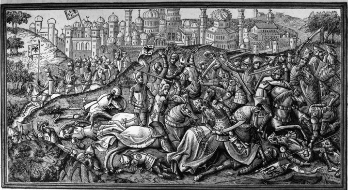 Schlacht um Jerusalem: Im Hochmittelalter ging die Legende, dass Karl der Große ins Heilige Land gezogen sei, die Heiden aus Jerusalem vertrieben habe und dafür wertvolle Reliquien geschenkt bekommen habe