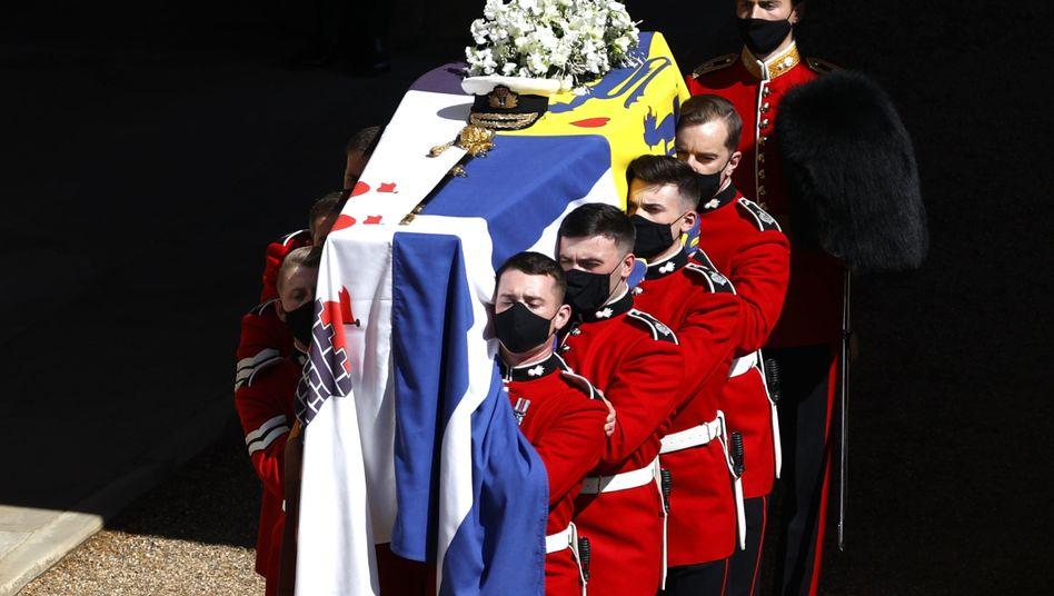 Der Sarg von Prinz Philip, Herzog von Edinburgh