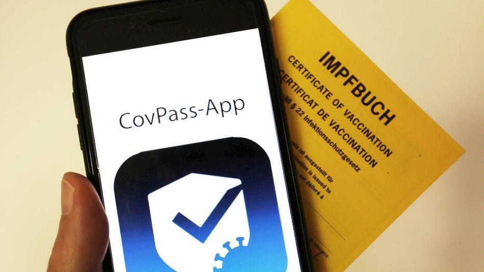 Logo der deutschen CovPass-App, die aktuell in Impfzentren getestet wird