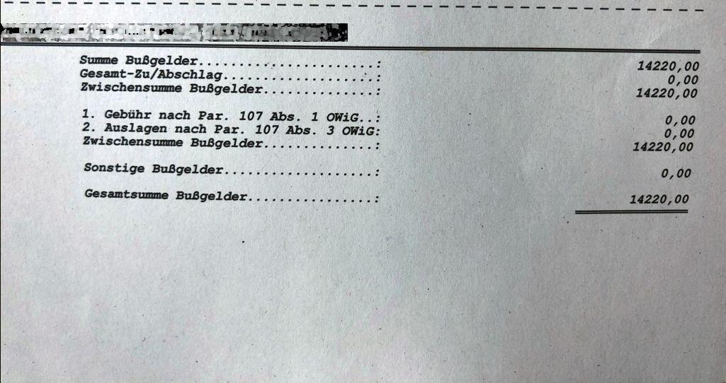 14.220 EUR - Bochums bislang teuerster Parkverstoß