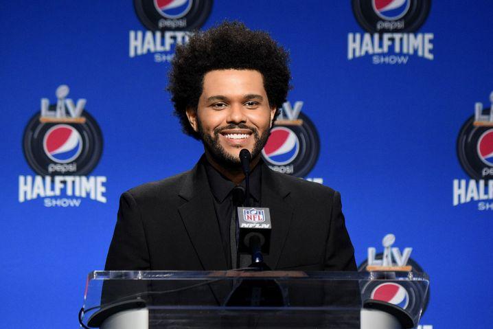 Musiker The Weeknd bei einer NFL-Pressekonferenz am 4. Februar: Popstar der Stunde
