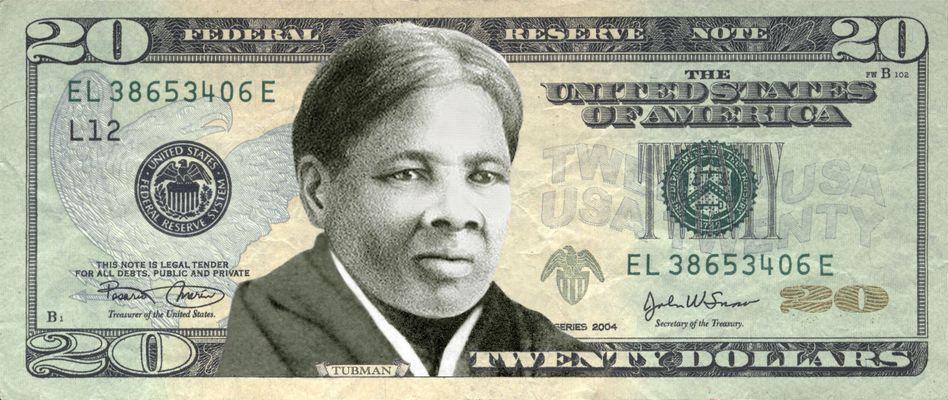 Zwanzig-Dollarnote mit Harriet Tubman (Montage)
