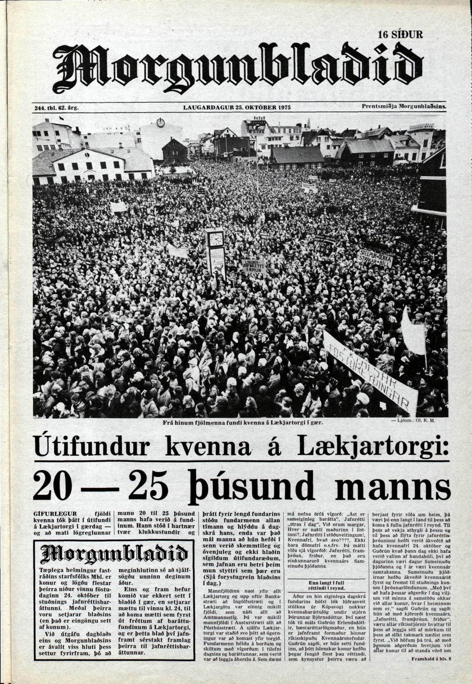 EINMALIGE VERWENDUNG Island/ Frauenstreik/ Gleichberechtigung/ Morgunbladid