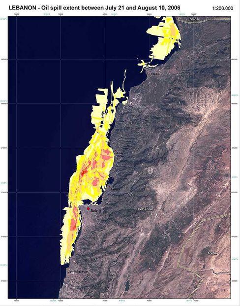 Gelb statt schwarz: Das Bild zeigt die Ausbreitung des Ölteppichs zwischen dem 21. Juli und dem 10. August. Je dunkler die Farben, desto dichter die Öllache