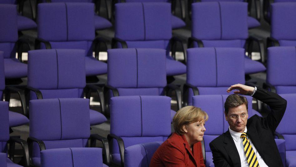 Kanzlerin Merkel, FDP-Chef Westerwelle: Wollen künftig regieren