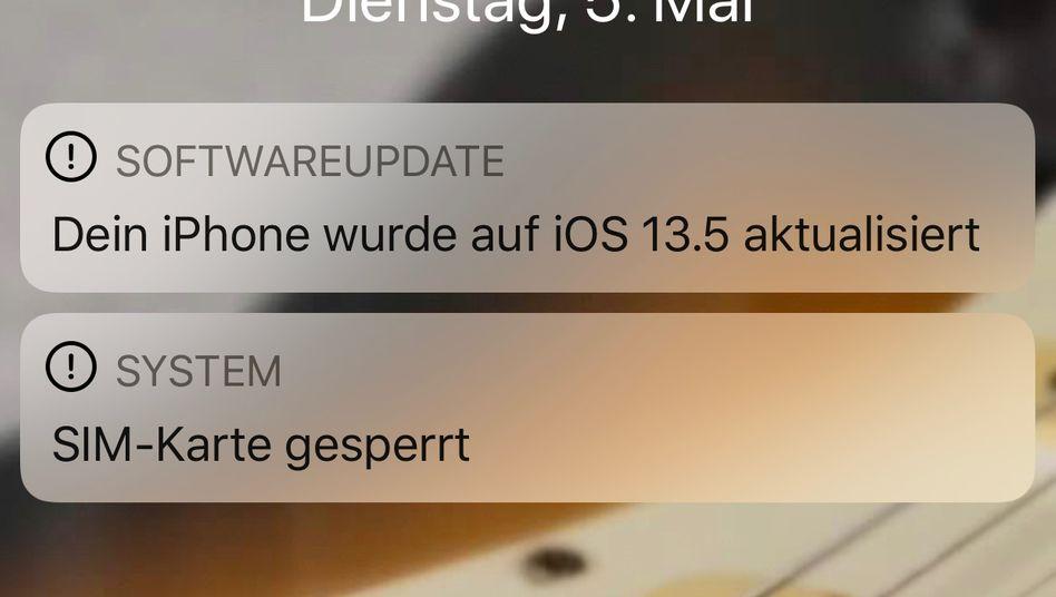 Ein iPhone nach dem Update