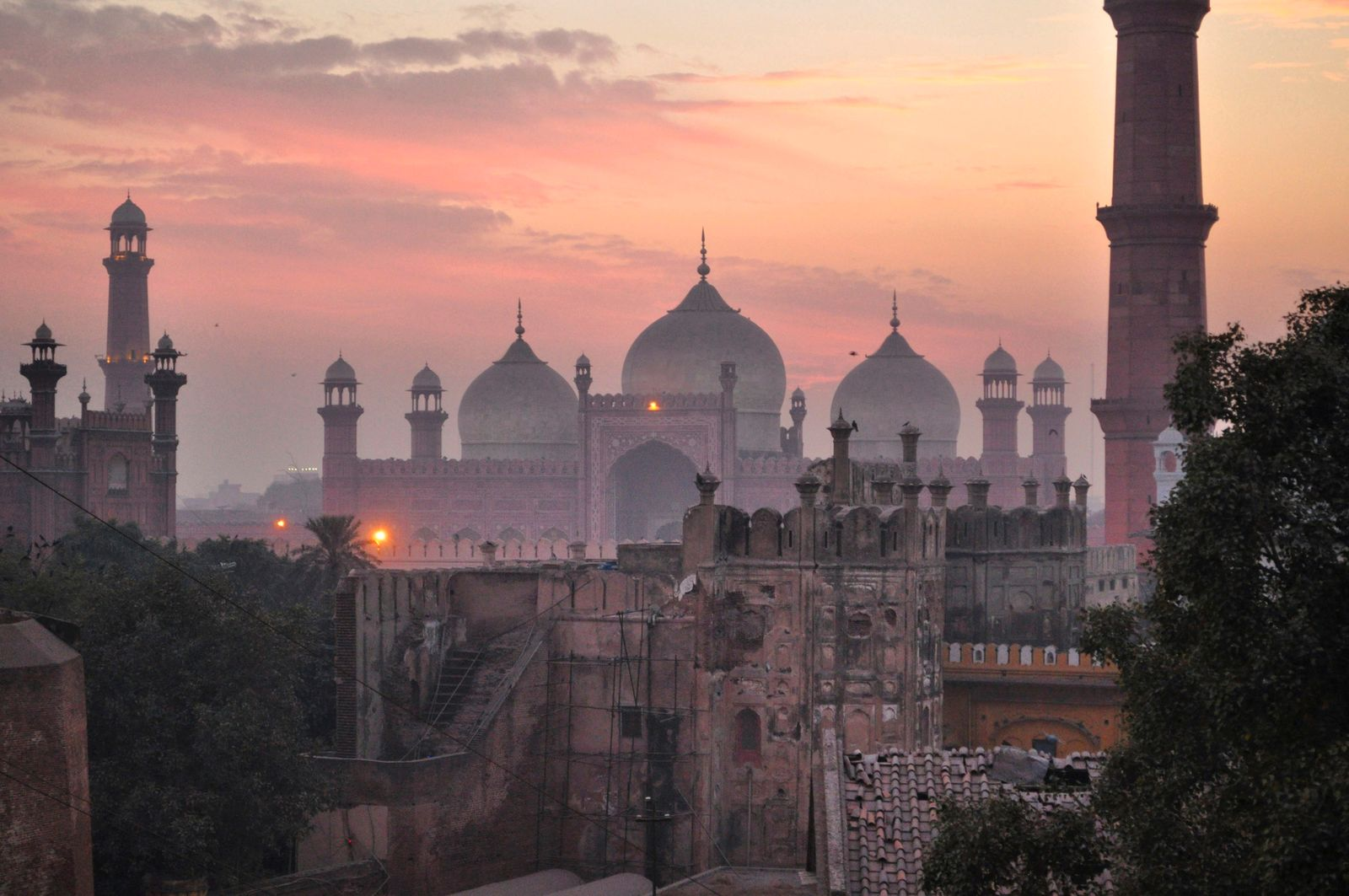 Badshahi Mosque Against Sky During Sunset