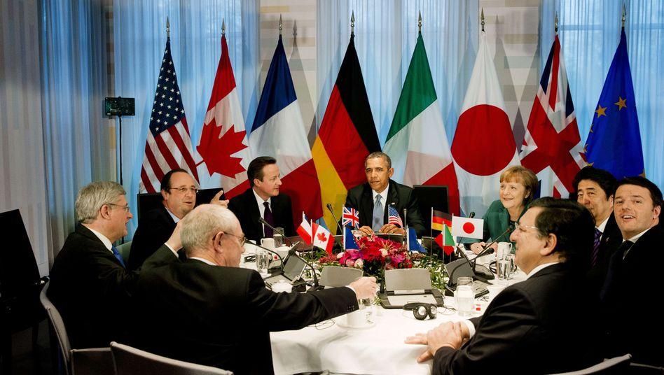 """G-7-Vertreter (mit EU-Ratspräsident Van Rompuy, Kommissionspräsident Barroso): """"Im Augenblick gibt es die G8 nicht"""""""