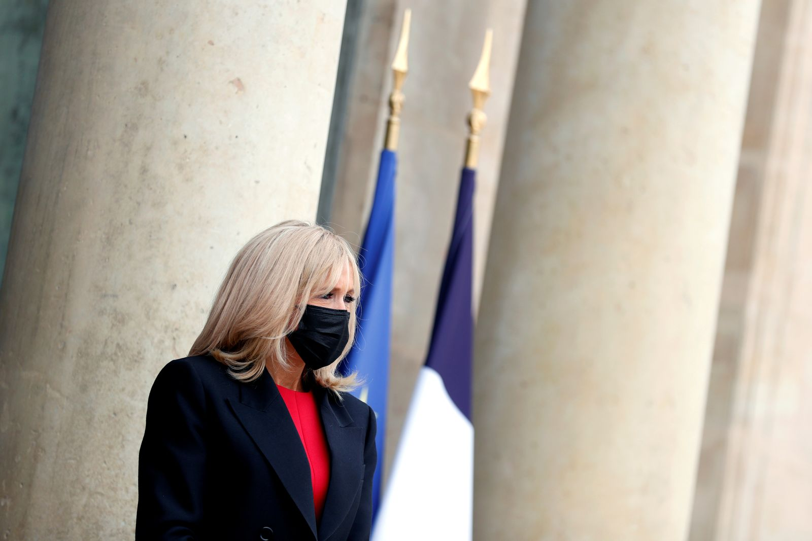 French first lady Brigitte Macron and her Mexican counterpart Beatriz Gutierrez Muller meet at the Elysee Place, in Paris