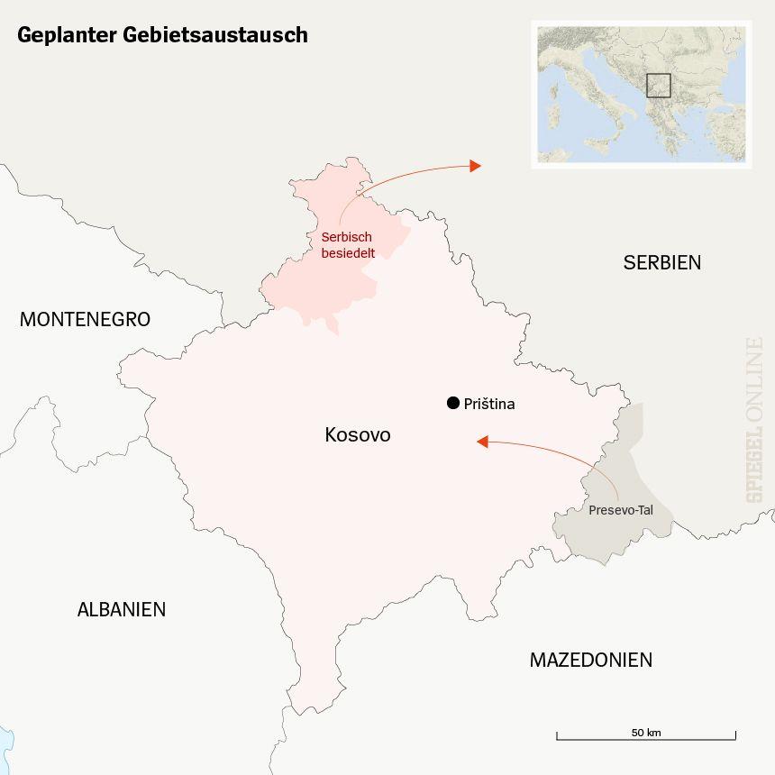 Karte Kosovo Serbien geplanter Gebietsaustausch