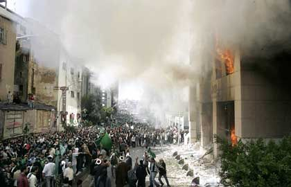 """Protesters at the burning Danish Embassy in Beirut: """"They woke the sleeping giant of Islam."""""""