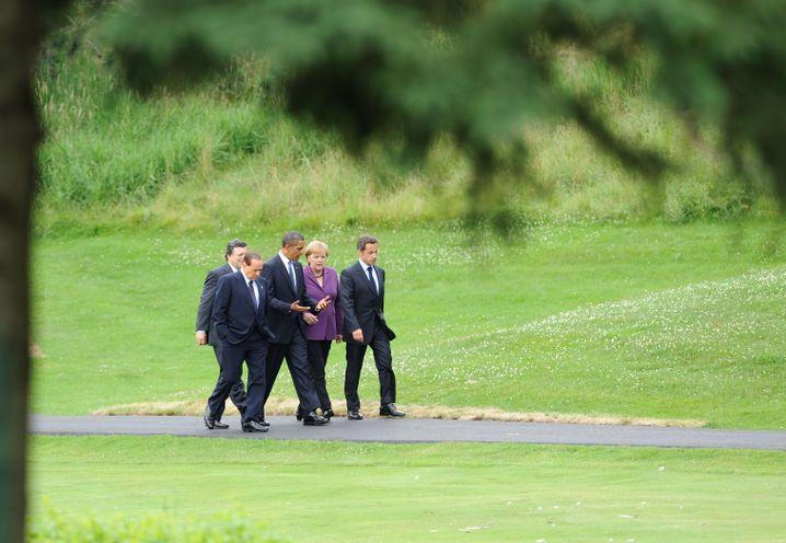 Berlusconi, Barroso, Obama, Merkel, Sarkozy (2010 in Huntsville): Kampf gegen die Krise