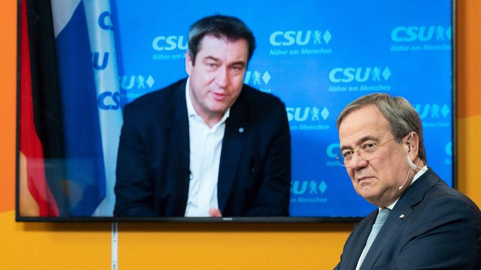Markus Söder, zugeschaltet beim Neujahrsempfang der NRW-CDU mit Armin Laschet (Archivbild)